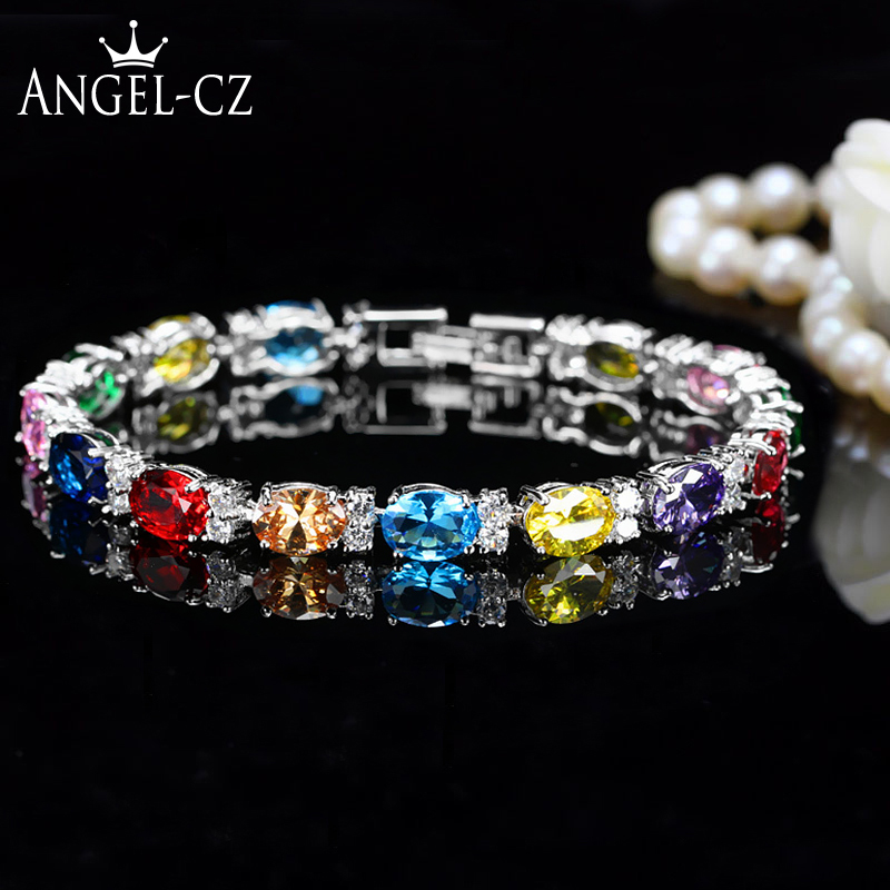 ANGELCZ Brand 2018 New Fashion Cubic Zirconia Tennis Bracelet Women Hand Jewelry With Brilliant Multi Red Blue Pink Stones AB080