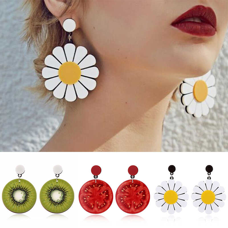 Cherry Cute Summer Flower watermelon Women Earrings Jewelry Cool Punk Big Fruit Green Acrylic earrings Statement Gifts