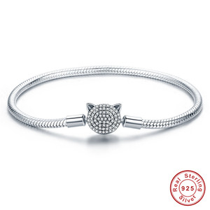 Image 4 - Браслет из серебра 925 пробы, браслет из серебра 925 пробы с подвеской в виде кошачьего сердца, браслет для изготовления ювелирных украшений