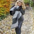 Newest Designer Brand Stitching Plaid Scarf Women Winter Scarf Elegant Warm Bufandas Cape Poncho Fashion Pashmina Shawls