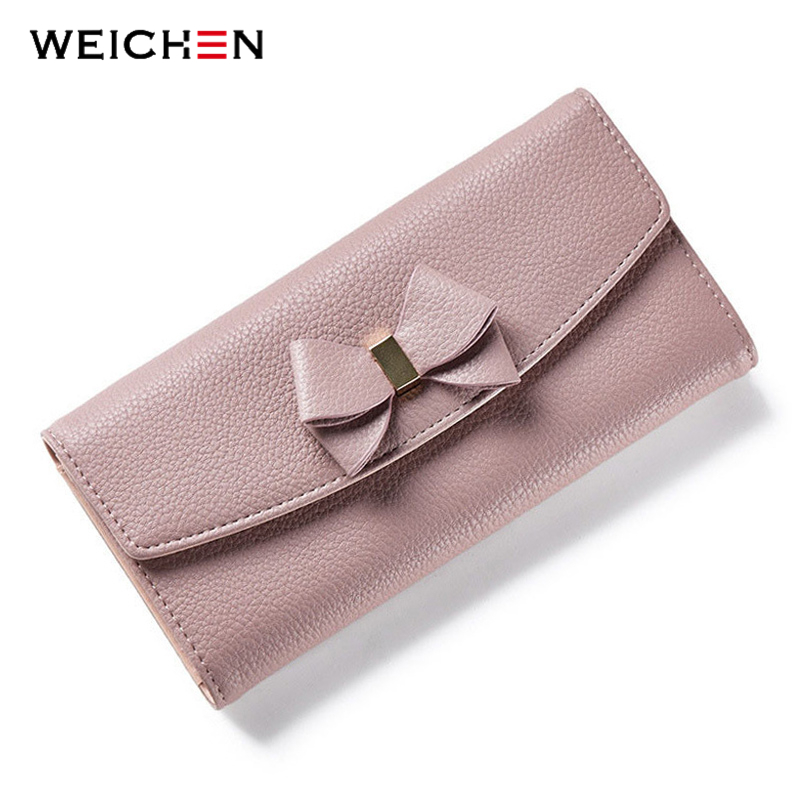WEICHEN New Design Bow Women Long Wallet Solid Simple HASP Fashion Evening Clutch Brand Lady Purse Female Phone Card Coin Pocket fashion hasp and solid color design wallet for women