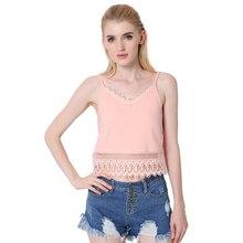 2017 summer sexy Women tank tops spaghetti strap sexy Backless Lace Chiffon shirt blouse crop tops Women's clothes