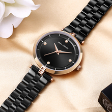MINIFOCUS Minimalist Business Ladies Watch Quartz Analog Clock Black Dial Top Brand Luxury Women Watches Stainless Steel Strap