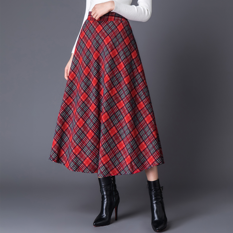 Autumn Winter 2019 High Waist Long Woolen Women Skirts With Zipper Red Plaid Casual Plus Size A Line Women Tartan Wool Skirts in Skirts from Women 39 s Clothing