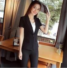 1ccd7b203c66 Delle Donne eleganti Tailleur pantalone Manica Corta Jascket 2 Pezzo Delle  Signore Ufficio Formale Lavoro di