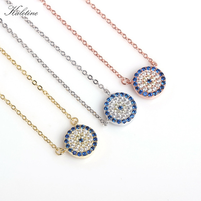KALETINE Genuine 925 Sterling Silver Necklace Turkey Round Evil Eye Necklaces AAA CZ For Women Link Chain Jewelry 2018 KLTN021