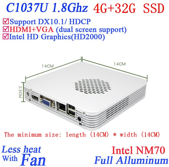 Promotional mini pc windows or linux 4G RAM 32G SSD with Celeron 1037U dual core 1
