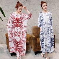 Nowy Lato maxi sukienka Kaftany Style odzież bawełniana pościel kobiety vintage sukienka Azji i Pacyfiku Wyspy Odzież darmowa wysyłka
