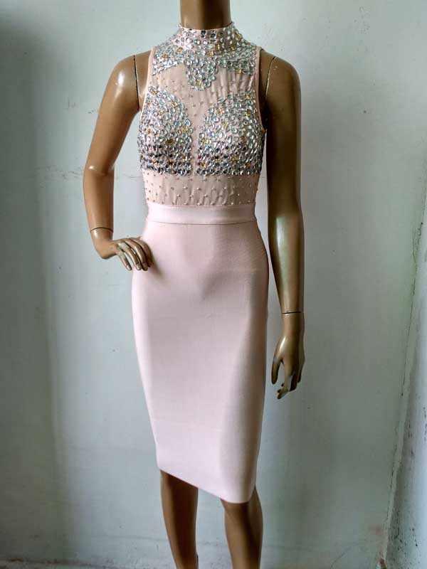 Сексуальное бежевое облегающее Бандажное платье без рукавов, украшенное бисером, с воротником-хомутом, с воротником-стойкой, для малышей, Ким Кардашьян, повседневное вечернее платье