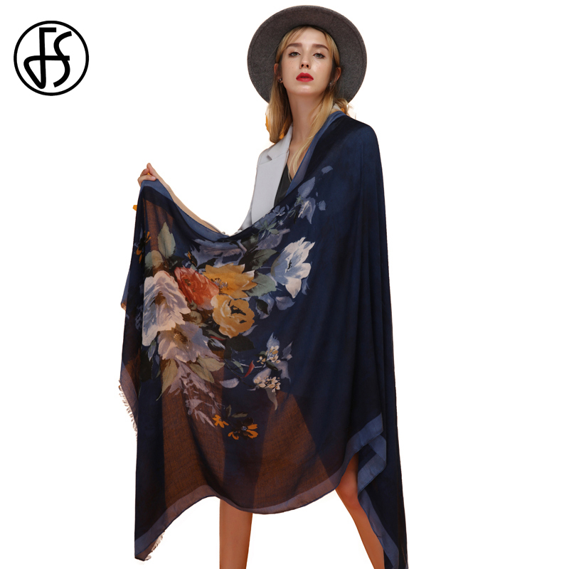 FS Cachecol Cotton   Scarf   Women Bandana Shawl Scarfs For Ladies Flower Print Ethnic Pashmina Mujer 2018 Luxury Brand   Scarves     Wrap