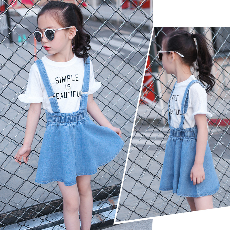 Girls Clothing Sets 2018 New Summer Fashion Style Letter Printed T-Shirts+Denim Suspender Dress 2 Pcs Female Child Clothes Sets azel elegant latest new child dress for 2 3 year old girls vestidos fashion summer kid clothing little girls daily clothes 2017