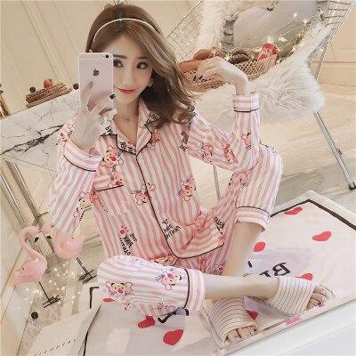Daeyard Autumn Winter Silk Satin Pajama Sets For Women Long Sleeve Shirts Trousers Sleepwear Cartoon Pyjama Sets Cute Home Wear