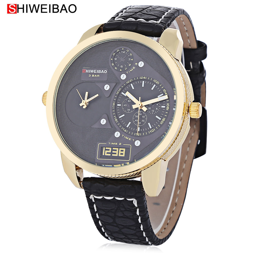 Cool Design Mens Watches Quartz Wrist Watch For Men Dual Time Zones Golden Military Relogio Masculino Leather Band Sport Clock