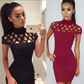 New Autumn High Neck Hollow Out Evening Party Mini Dress Size S-XL Sexy Short Sleeve Women Bodycon Bandage Dress