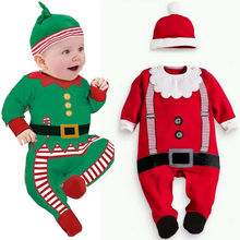 Cute Baby Girl Jumpsuit Santa Christmas Hat+ Romper Boys Jumpsuit Top Clothes Outfit Free shipping