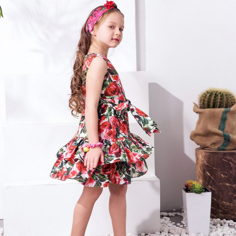4c4935d3f98ad W.L.MONSOON Princess Dress with Bow 2018 Girls Summer Dresses Kids Clothes  Rose Flower Disfraz Princesa Children Costumes 3 12Y-in Dresses from Mother  ...