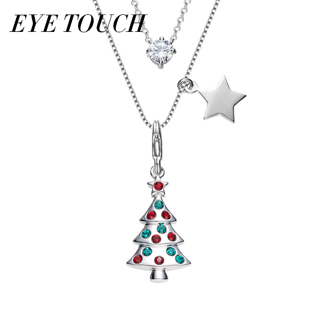 Eye Touch Pendants Christmas Tree Shape Necklace Austrian Rhinestone