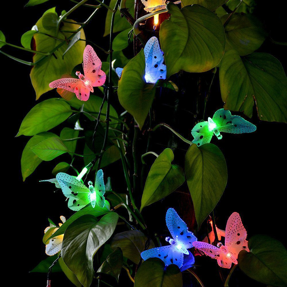 12 Led Solar Powered Butterfly Fiber Optic Fairy String Waterproof Christmas Outdoor Garden Holiday Lights