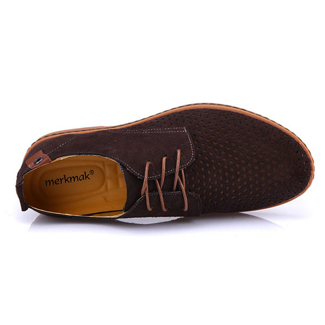 Merkmak Hot sale men casual shoes breathable leather summer holes luxury brand flat shoes for man wedding large Size38-48