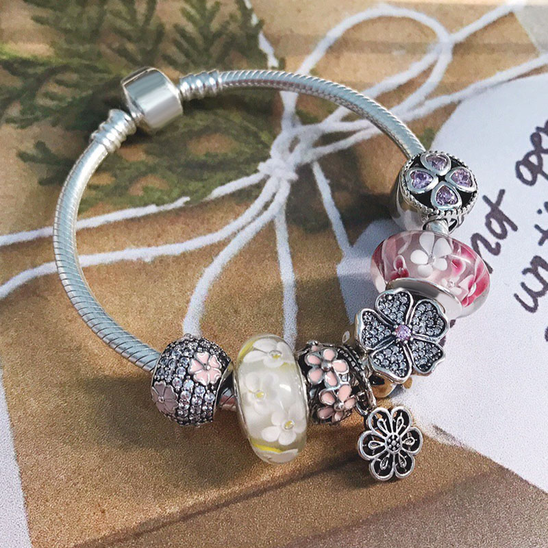 New Arrival High Quality Beautiful Birthday Silver Gifts Spring Designs 925 Sterling Silver Flower Charms Bracelet For Girls
