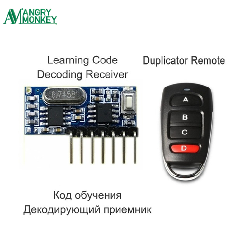 RF Remote Control Transmitter & 433Mhz Wireless Receiver Learning Code 1527 Decoding Module 4 Channel Output With Learning Key chunghop rm l7 multifunctional learning remote control silver