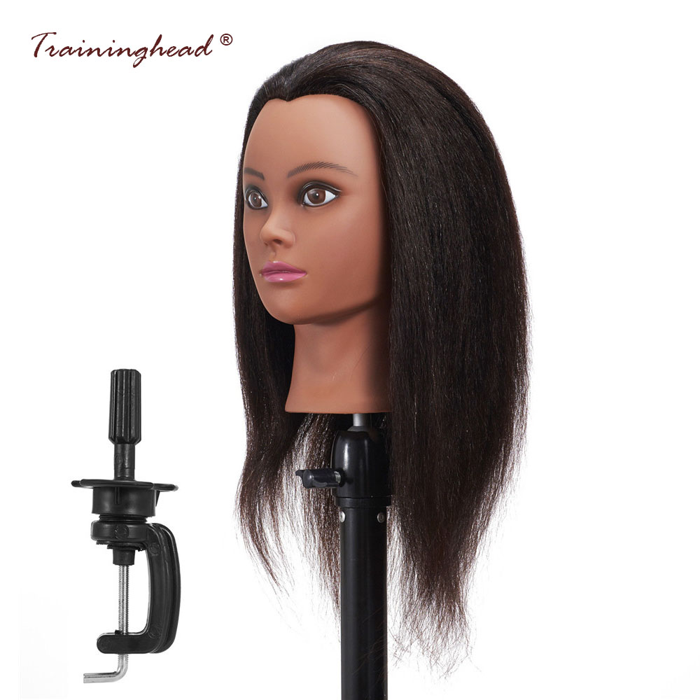 Traininghead 16 Salon Mannequin Head Real Hair Pratice Dummy Doll Head Female Mannequin Head For Wigs With Stand Training Head