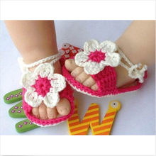 Baby Girl Baby Girl Kid Infant Handmade Crochet Knit Flower Pearl Toddler Shoes Baby Girl Summer Shoes New(China)