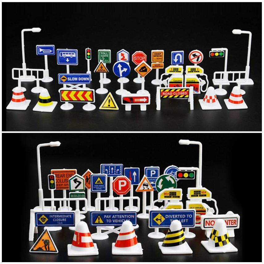 28 Pcs Car Toy Accessories Traffic Road Signs Kids Children Play Learn Toy Game 2sw0628
