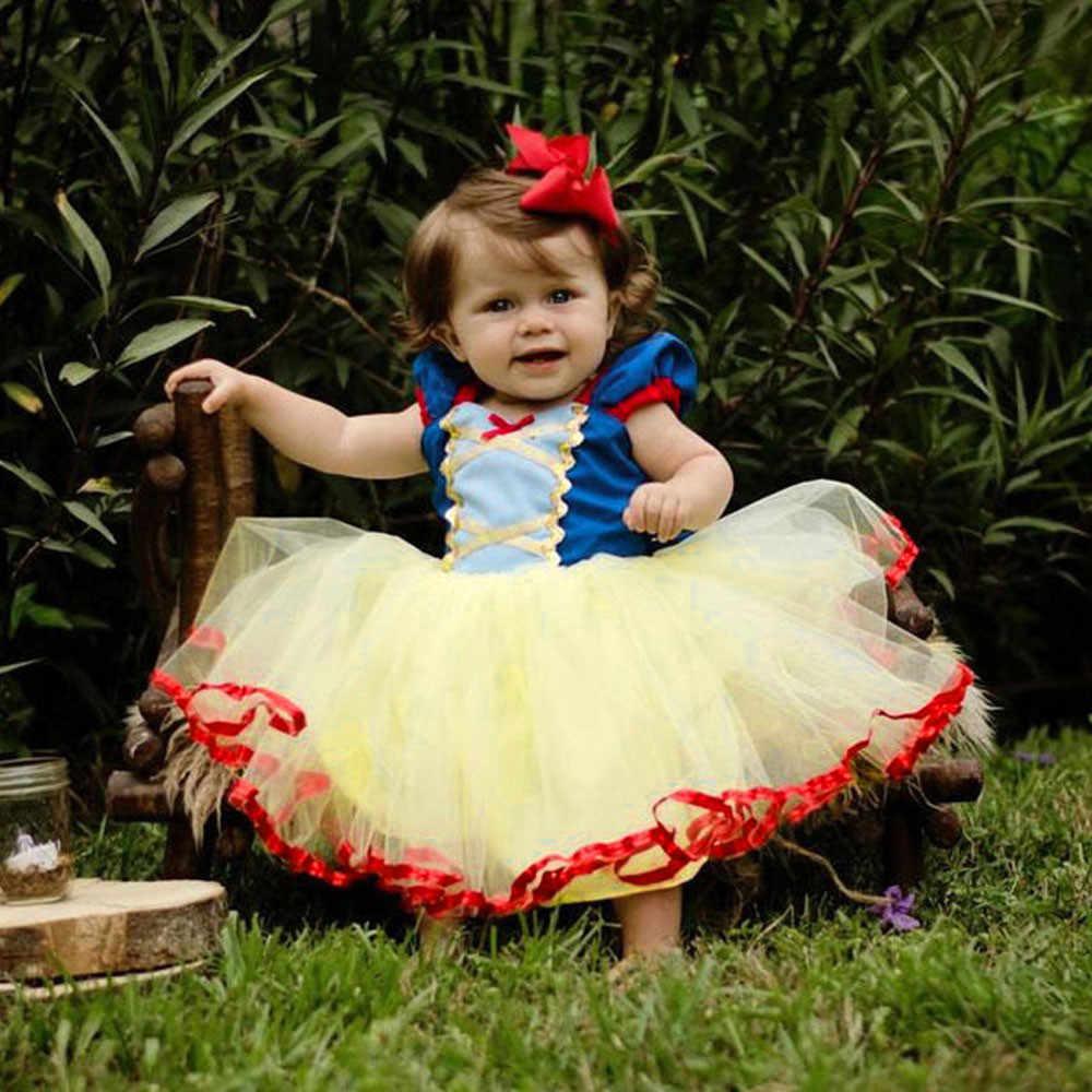 Кружевное платье Белоснежки для костюмированной вечеринки для девочек, праздничное платье принцессы, детское платье с фатиновой юбкой, платье-пачка с бантом для маленьких девочек, для детей 12 мес.-5 лет, 827
