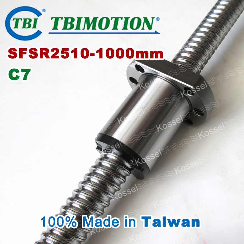 TBI ballscrew 2510 C7 1000mm with SFS ball nut SFS2510 + end machined for high stability CNC kit set tbi left helix c3 ballscrew 1605 300mm sfu1605 nut end machined high precision for cnc diy parts