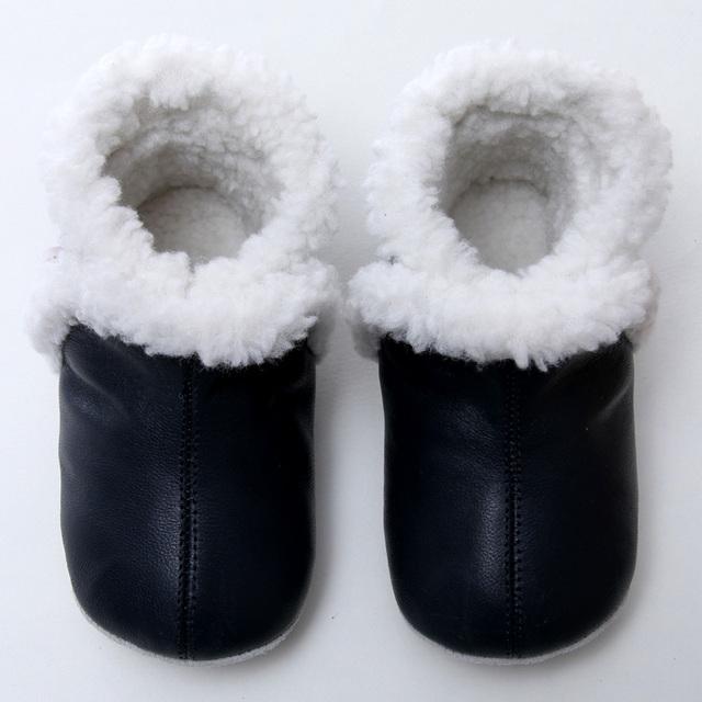 Couro Botas de Inverno Do Bebê Botas de Neve Do Bebê Para A Menina Quente Do Bebê bota Botas de Neve Meninos Sapatos para Crianças de 0-24 m Infantil Sola Macia Booties