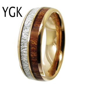 Image 3 - Mens Classic Love Jewelry Trendy Wedding Ring For Women Rose Golden Tungsten Ring Meteorite Wood Inlay Engagement Ring