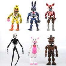 6 հատ / հավաքածու Լուսավորվող շարժական հոդեր հինգ գիշեր Ֆրեդիի գործողություններում Գծային խաղալիքներ Foxy Freddy Chica PVC մոդելի տիկնիկներ երեխաների հետ խաղալիքներով
