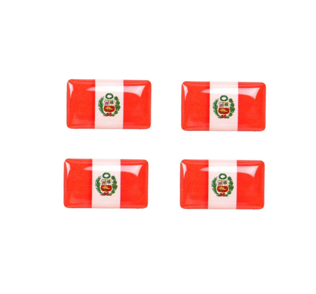 50 pieces epoxy peru flag car steering wheel styling stickers