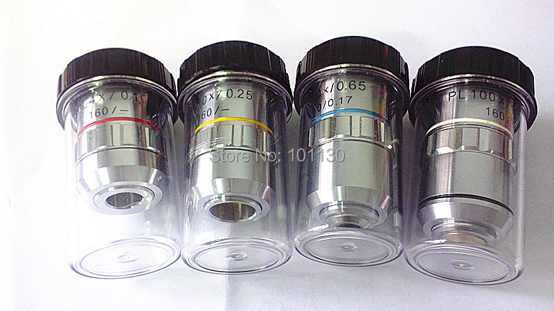 Microscope Part 4x, 10x, 40x, 100x 195 Plan Achromatic Objective lens for Biological Microscope Metalloscope brand new microscope achromatic objective lens 4x 10x 40x 100x set free shipping page 2