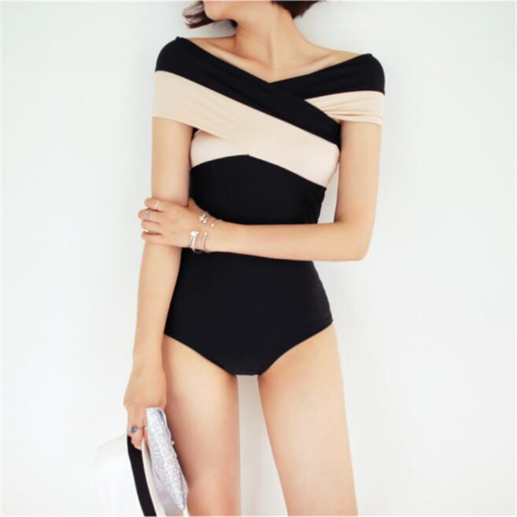 One Piece Swimsuit High Waist Large Size Swimsuits Girls Beach Wear Swim Woman 2017 New Bikini Korea Summer Big Color Badpak