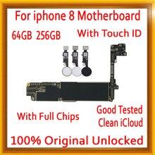Бесплатная материнская плата iCloud для iphone 8 с сенсорным ID/без сенсорного ID, оригинальная разблокированная материнская плата для iphone 8 с полным чипом