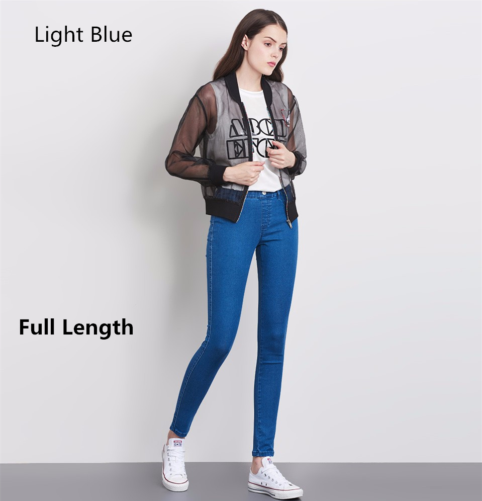 Women Plus Size Casual Slim Stretch Cotton Denim Jeans Blue black 32