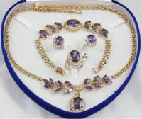 Yellow Gold GP Inlay Purple Crystal Necklace Bracelet Earring Ring 1set