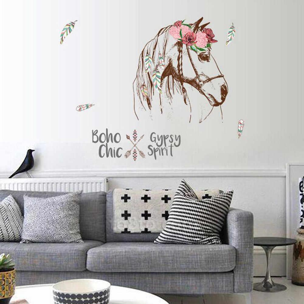 جدار ملصقا المعيشة غرفة نوم خلفية الحصان رئيس ملصقات الزخرفية الإبداعية ملصقات الحائط القابلة للإزالة انخفاض الشحن June20