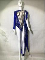 Синий блёстки боди Сексуальная одна нога бусины наряд танцевальная клубная одежда праздничная одежда костюм этап праздновать Женские Танц