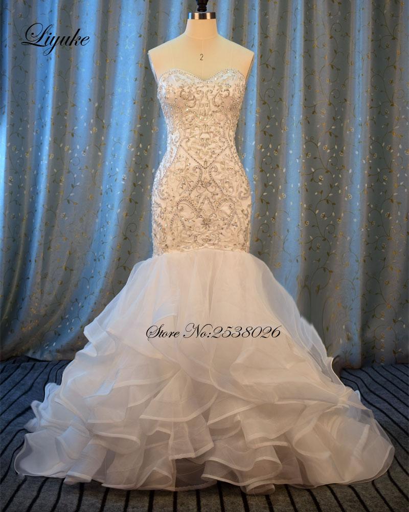 Liyuke Broderi Mermaid Wedding Dress Ny Sweetheart Lyxapplikationer - Bröllopsklänningar
