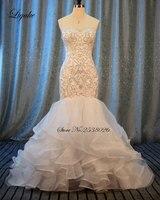 Liyuke Embroidery Mermaid Wedding Dress New Sweetheart Luxury Appliques Beading Off The Shoulder Bride Dress robe de marriage
