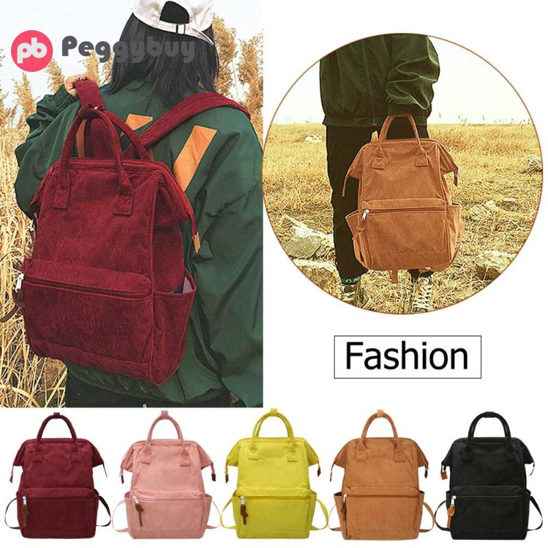 Corduroy Backpacks For Women 2019 Mochila Fashion Winter Casual Style Ladies Solid Color Back Pack Female Teen Girls School Back