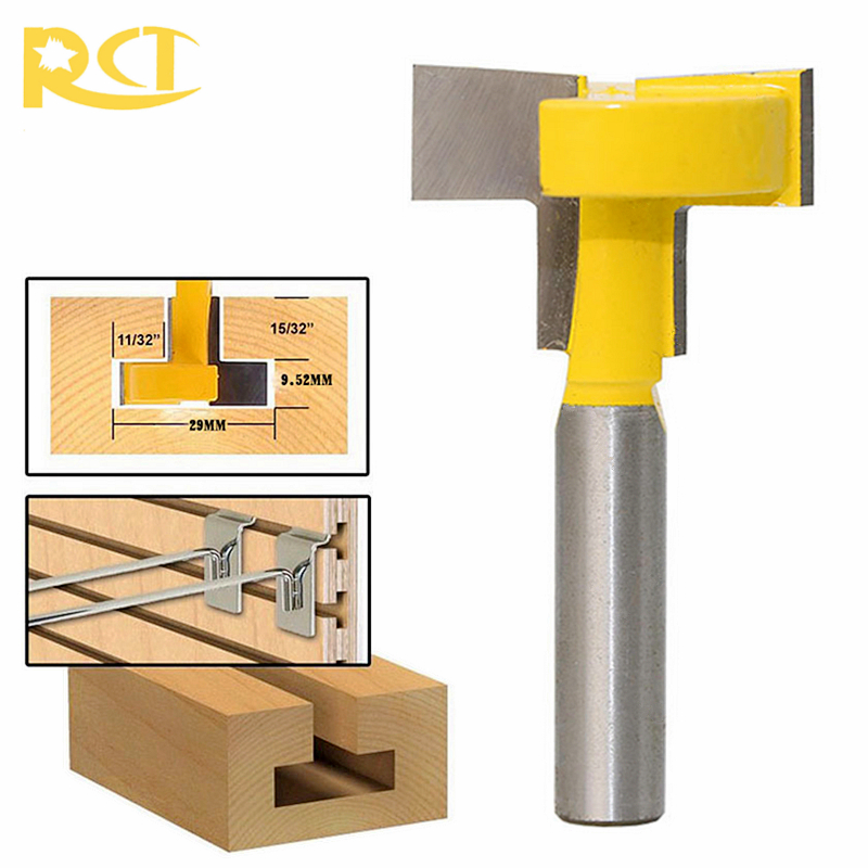 RCT T-Slot Milling Cutters 8mm Shank T-Track Router Bit Straight Edge For Wood Cutter Woodworking Tools 2pcs milling cutters 3 8 t slot cutter 1 4 shank steel handle milling woodworking router bit yellow blue cutters for wood