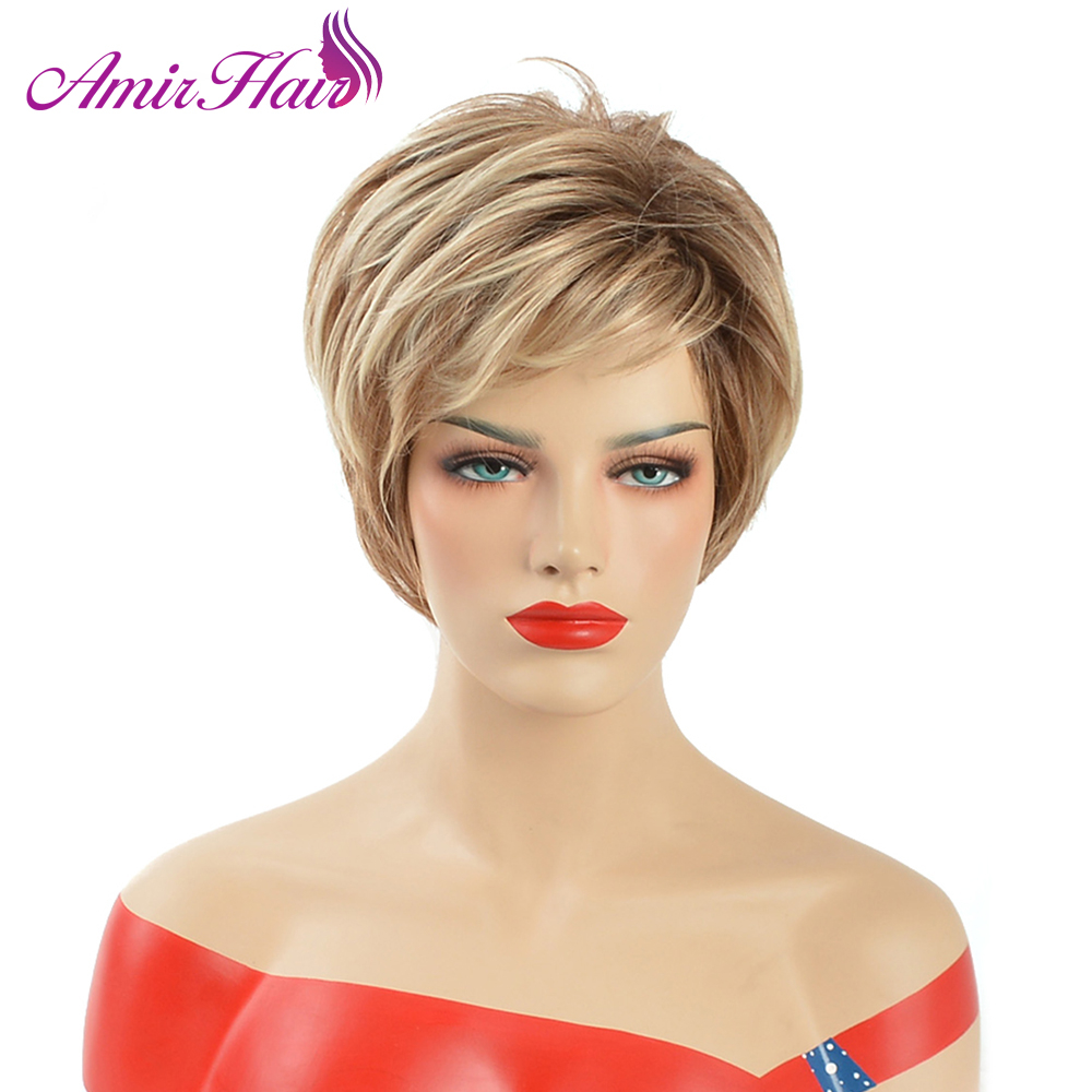 Amir 6inch Puffy Blonde Wig Heat Resistant Synthetic African American Short Straight Wigs For Middle Age Women
