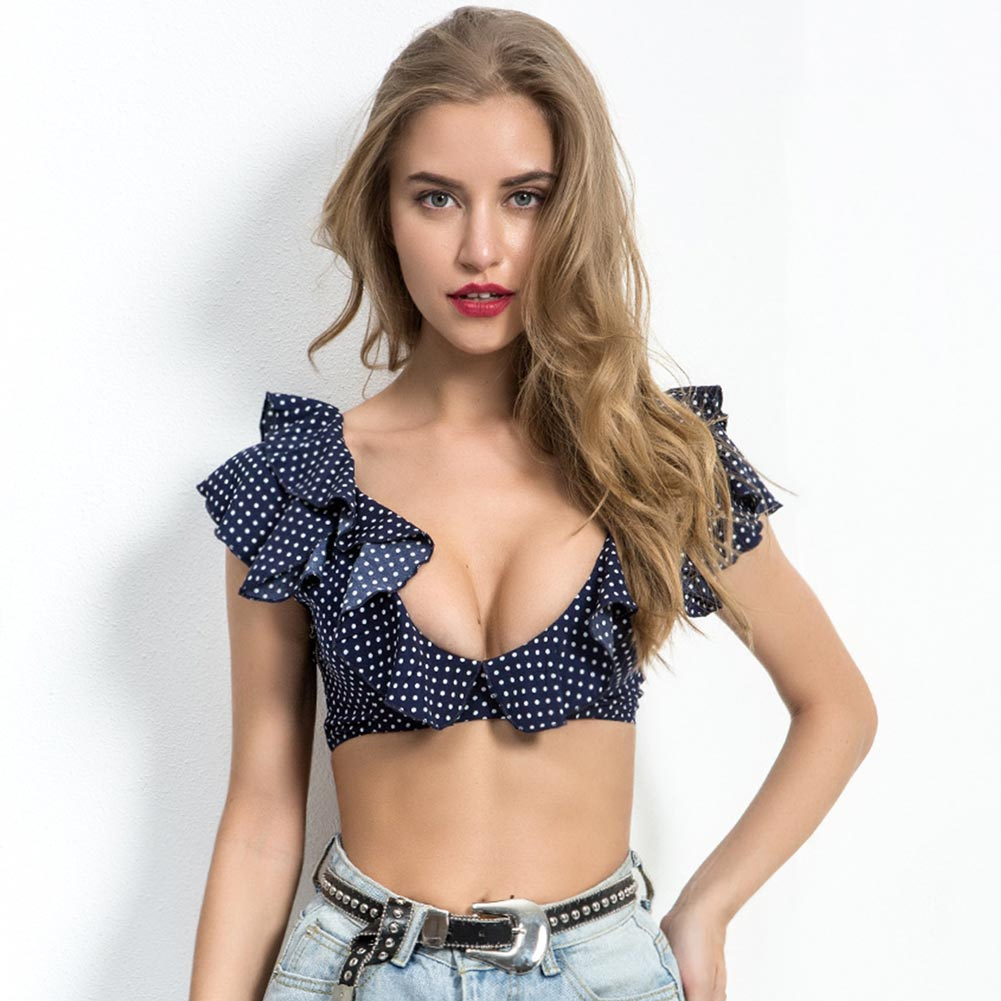 New Arrival Summer Women Sexy Crop Tops Deep V Ruffles Backless Tee Polka Dots Print Casual in T Shirts from Women 39 s Clothing