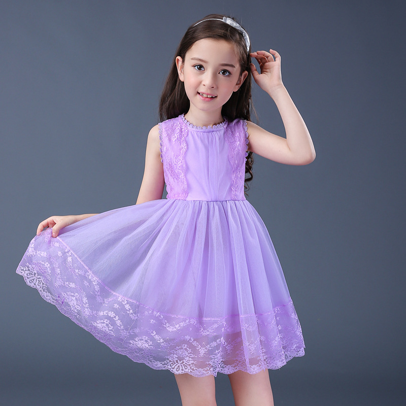Baby Girls Dress for Girls 5-16 Years Children Sleeveless Pink Mesh Dresses Girls Costume Kids Princess Dress for Summer 256B 2016 spring winter children baby kids girls stripe princess lace mesh dress girls fall sleeveless dresses kids dresses for girls