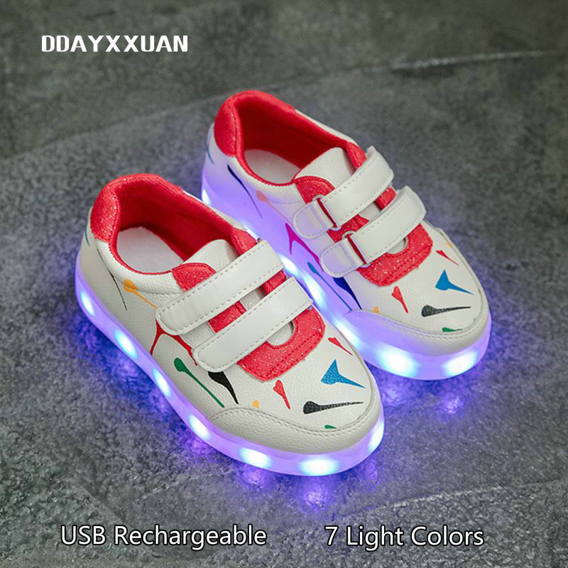 Glowing Sneakers Children LED Shoes USB Rechargeable Printed Kids Luminous Sneakers Boys ...