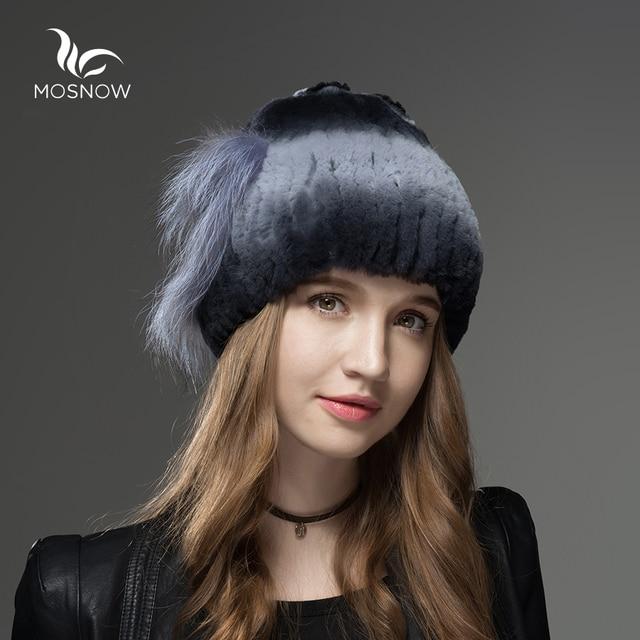 Mosnow 100% Real Rex Rabbit Fur  Winter Hats Fox Fur Heart-Shaped Decoration Knitted Vogue Women Hat Female Skullies Beanies
